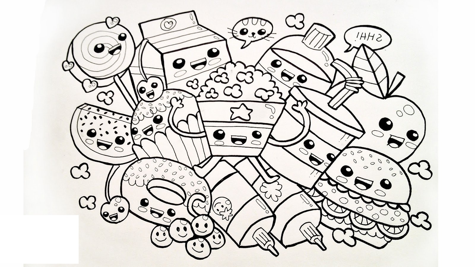 kawaii food coloring pages 3