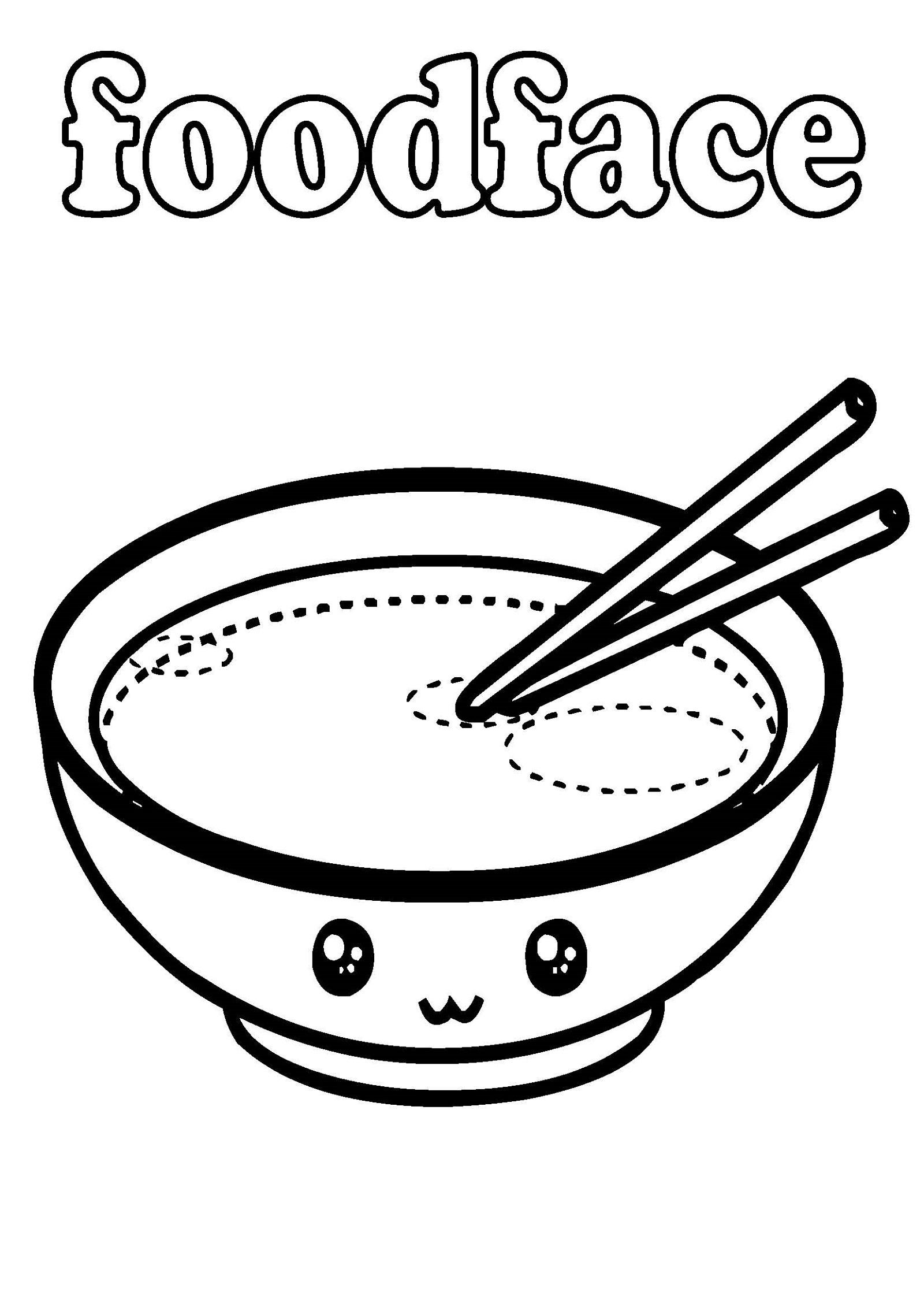 kawaii food coloring pages 5