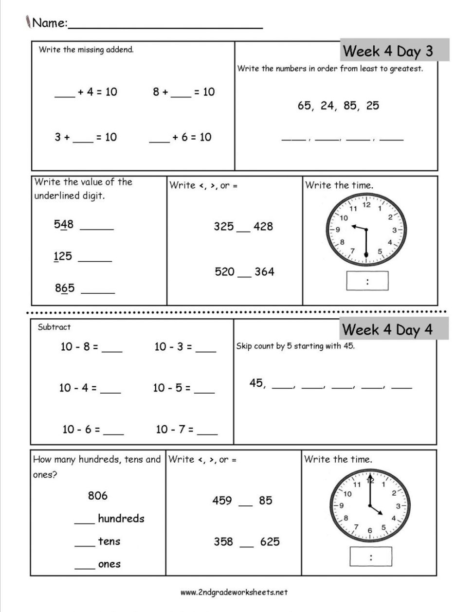 mathematics printable worksheets 5