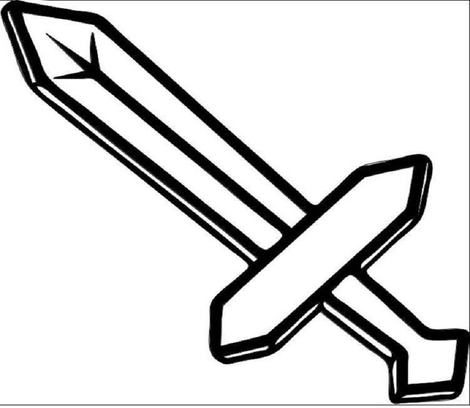 minecraft sword coloring pages 4