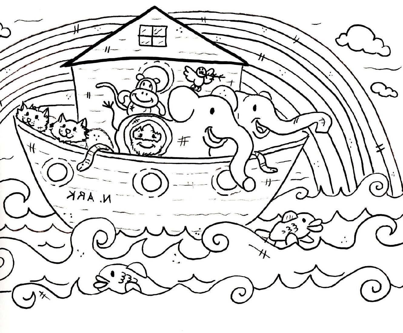 noah's ark coloring page four