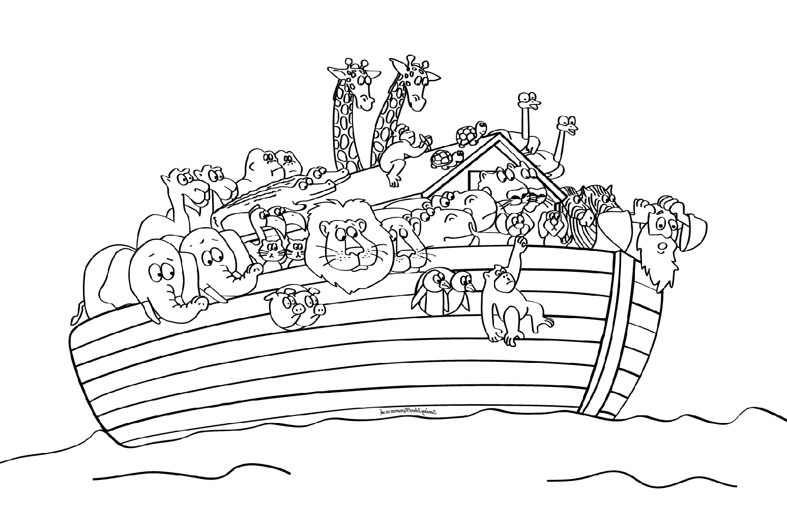 noah's ark coloring page one