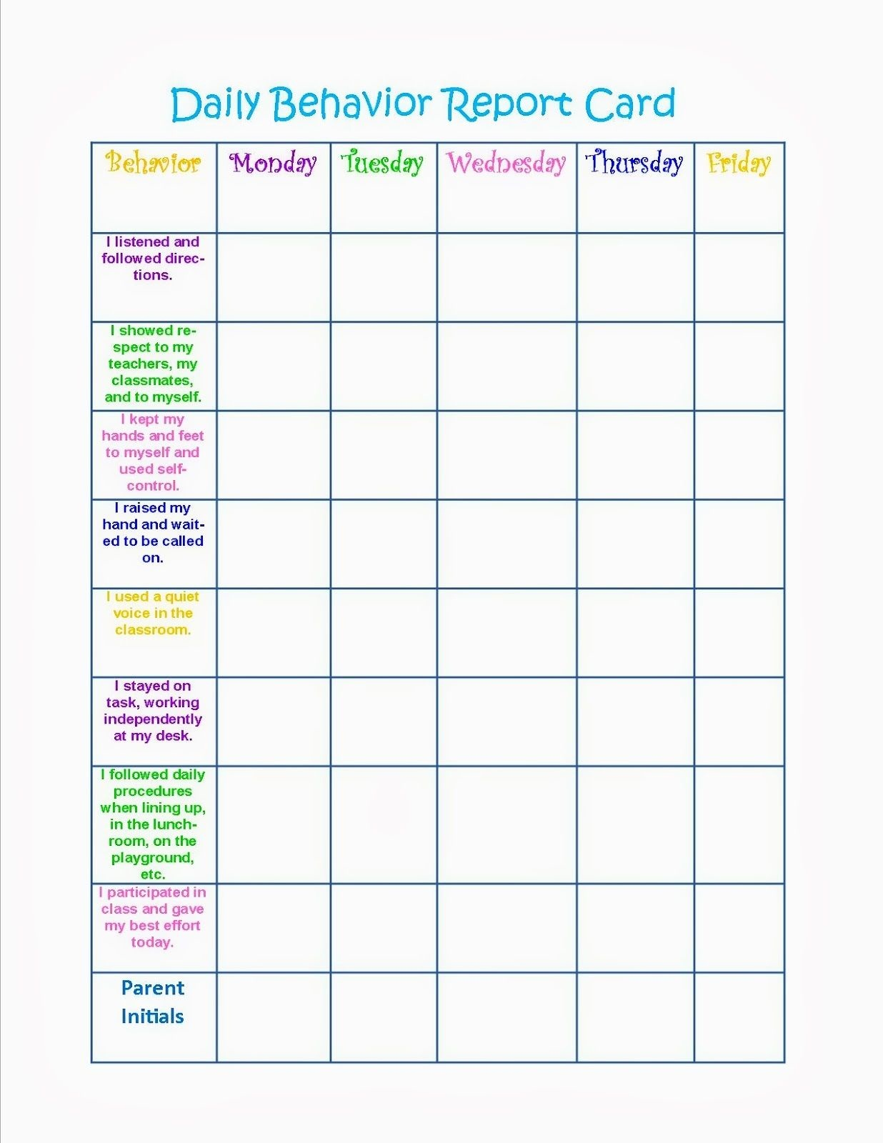 printable behavior charts 4