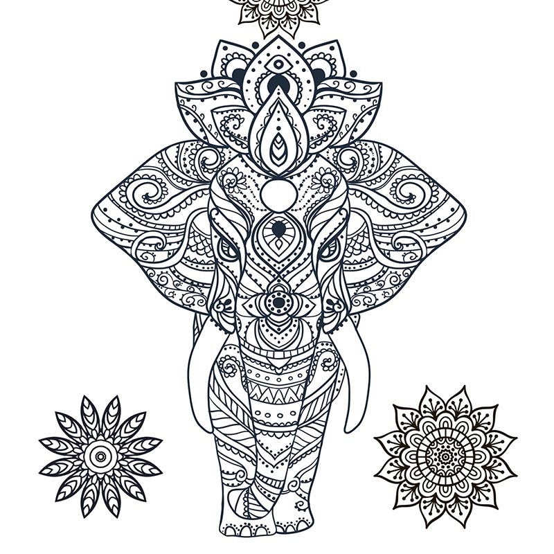 stress relief coloring elephant
