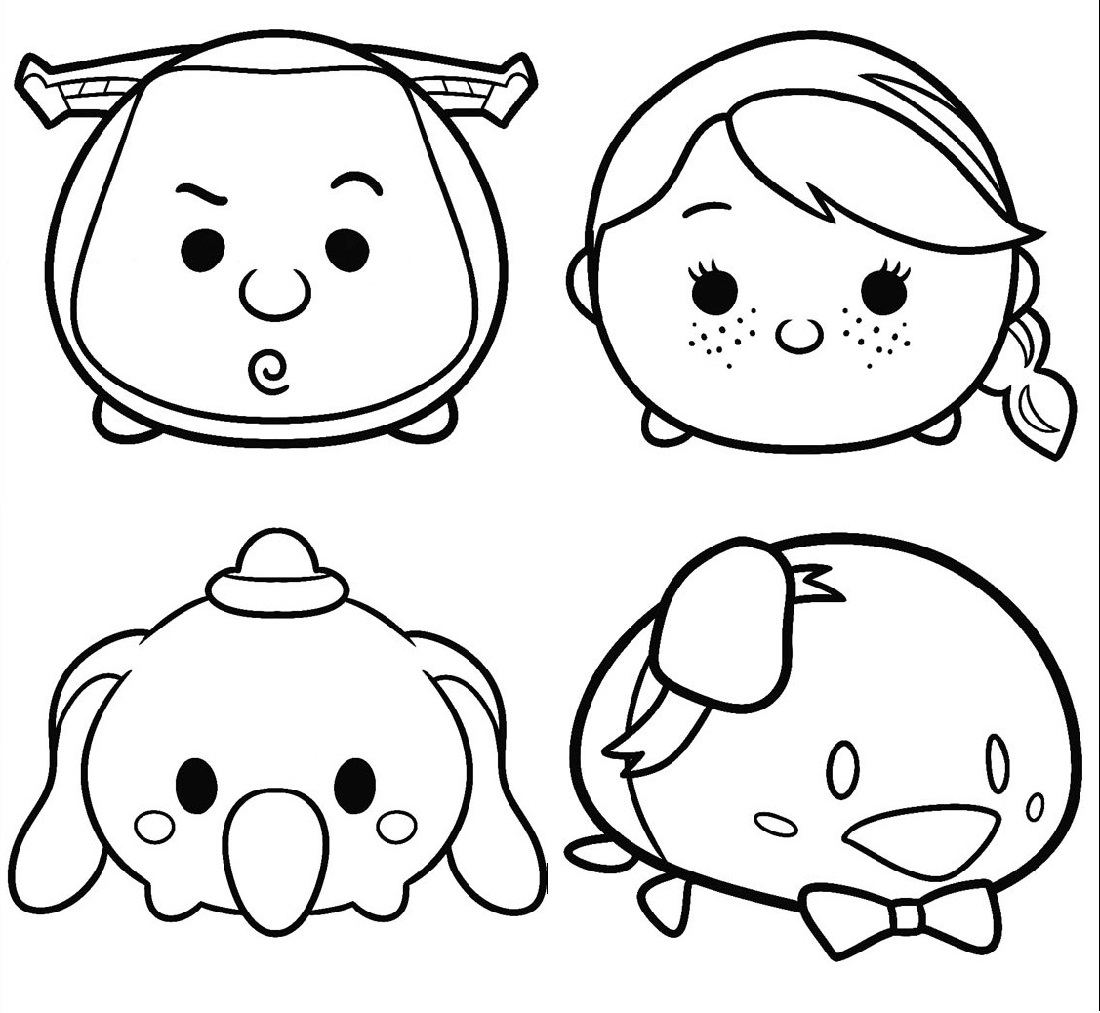 tsum tsum coloring pages five