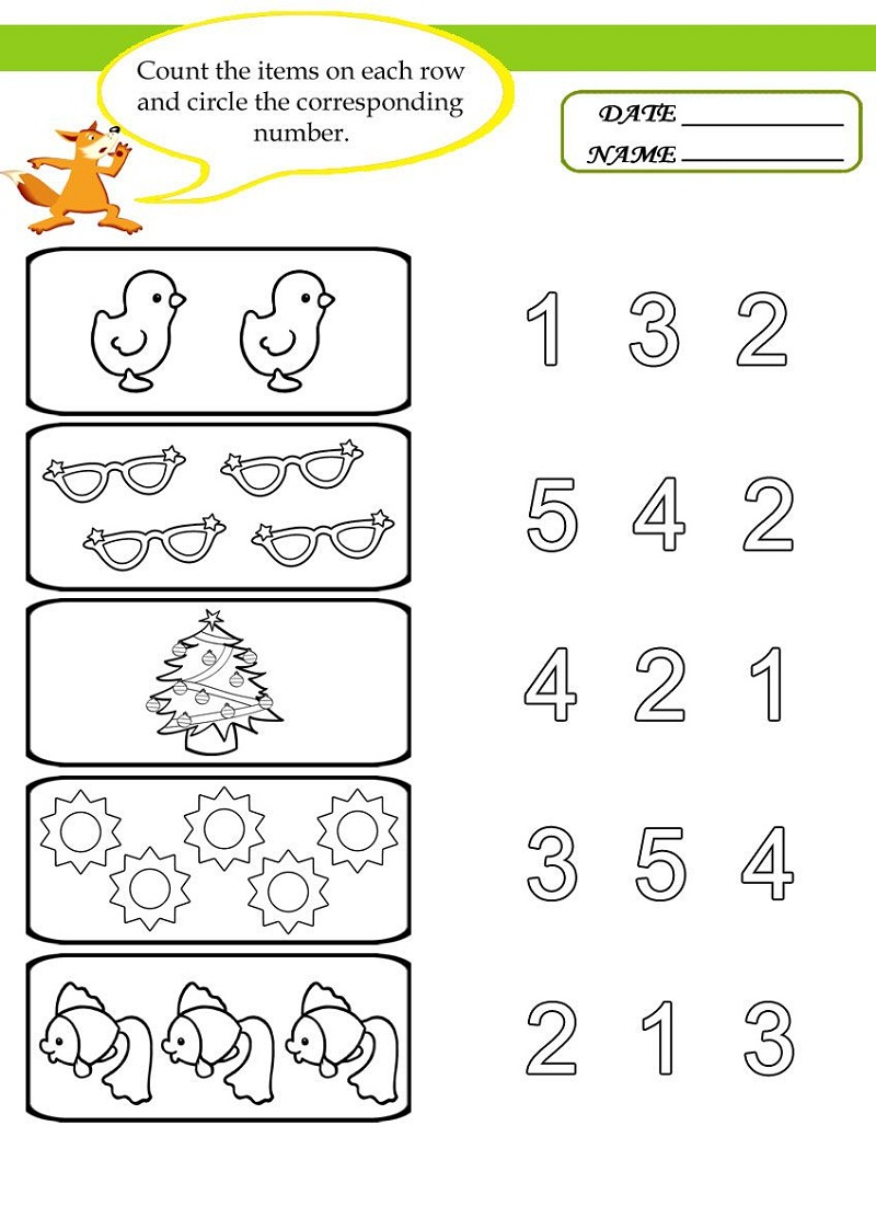 worksheet for nursery 3
