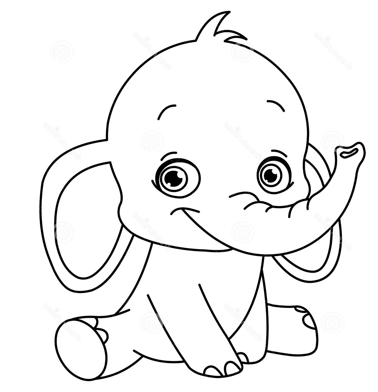 baby elephant coloring pages 2