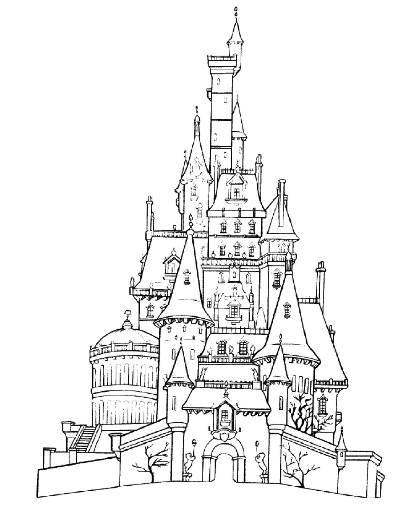 disney castle coloring pages 2