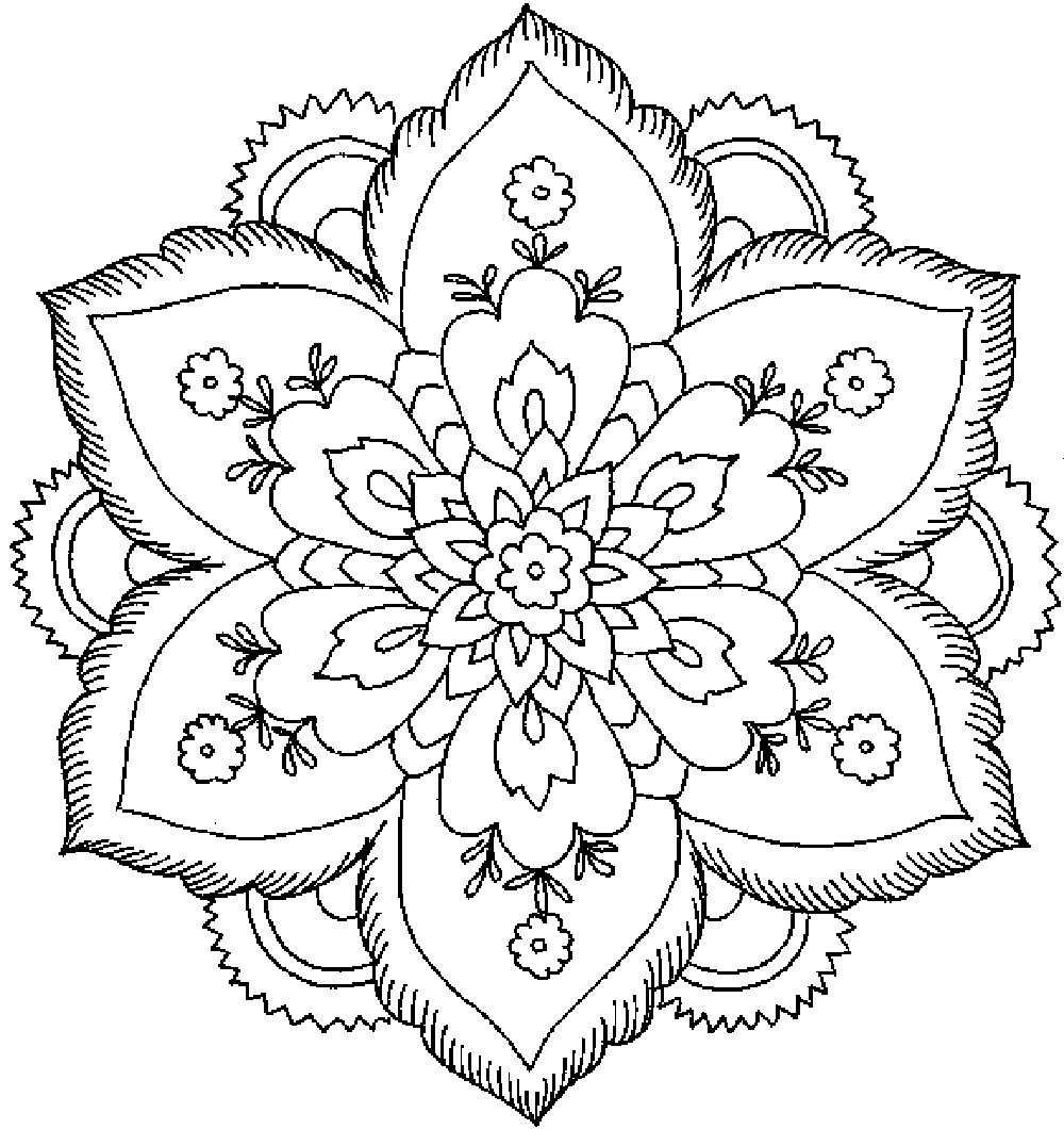 flower coloring pages for adults 1