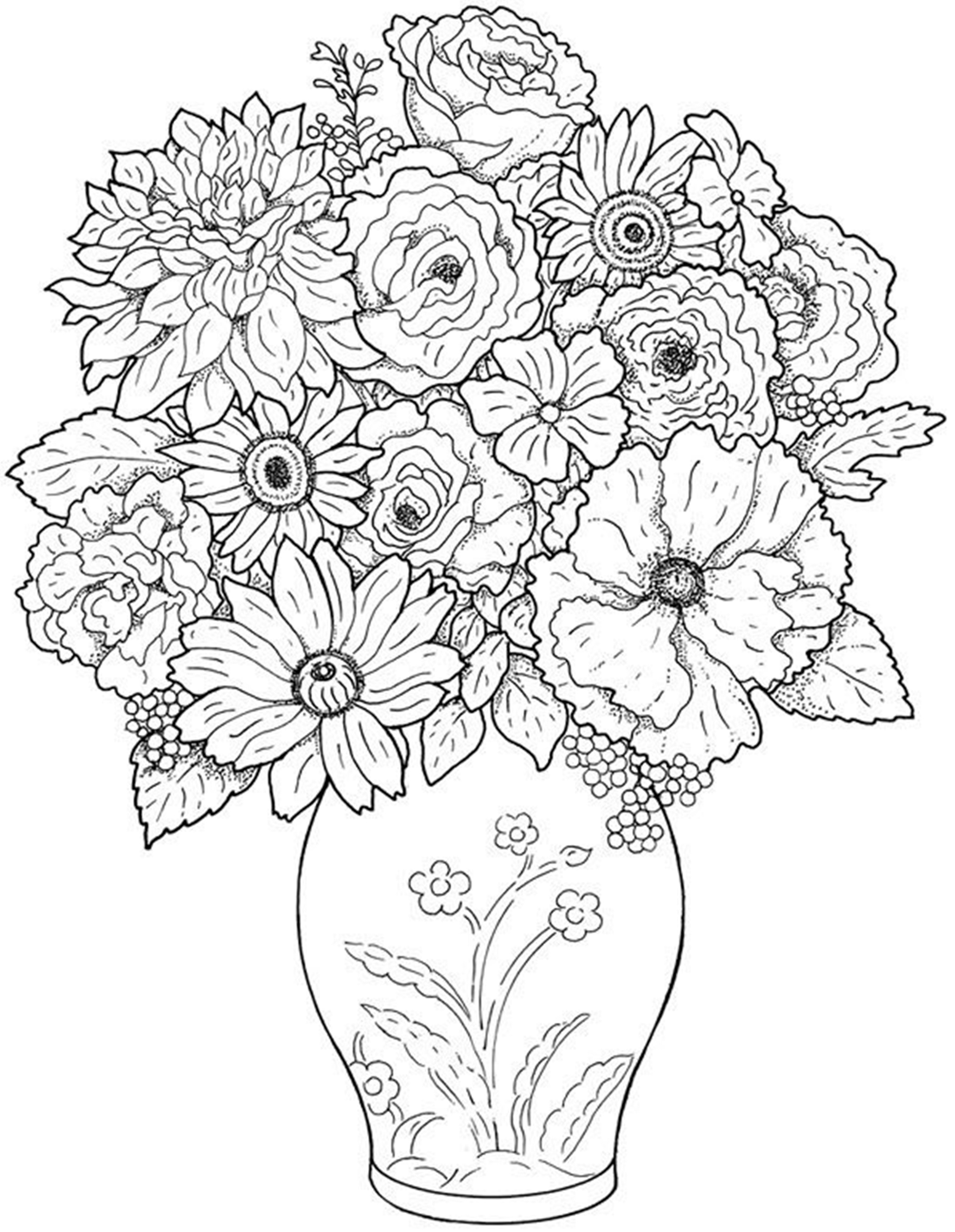 flower coloring pages for adults 2