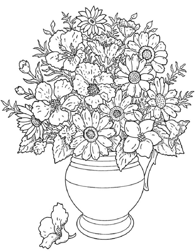 flower coloring pages for adults 3