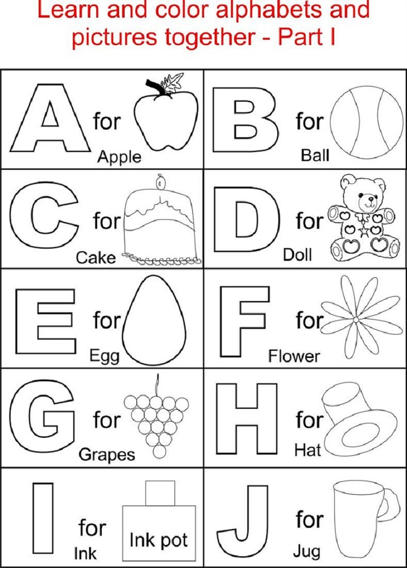free learning printables picture alphabets and fruits