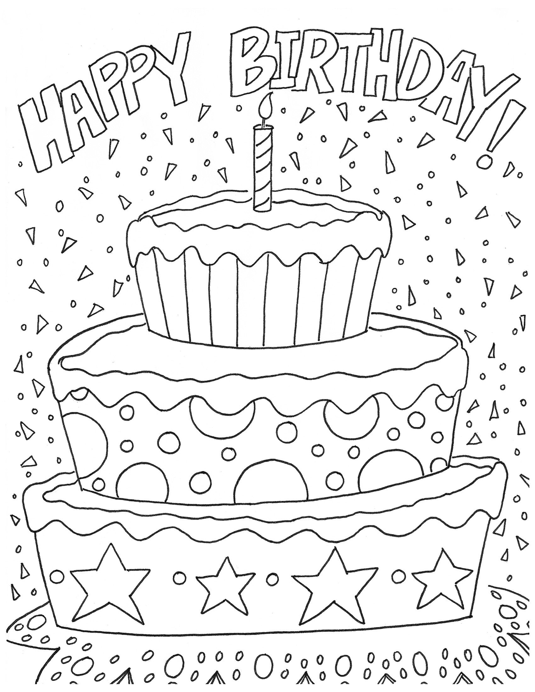 happy birthday coloring pages 3