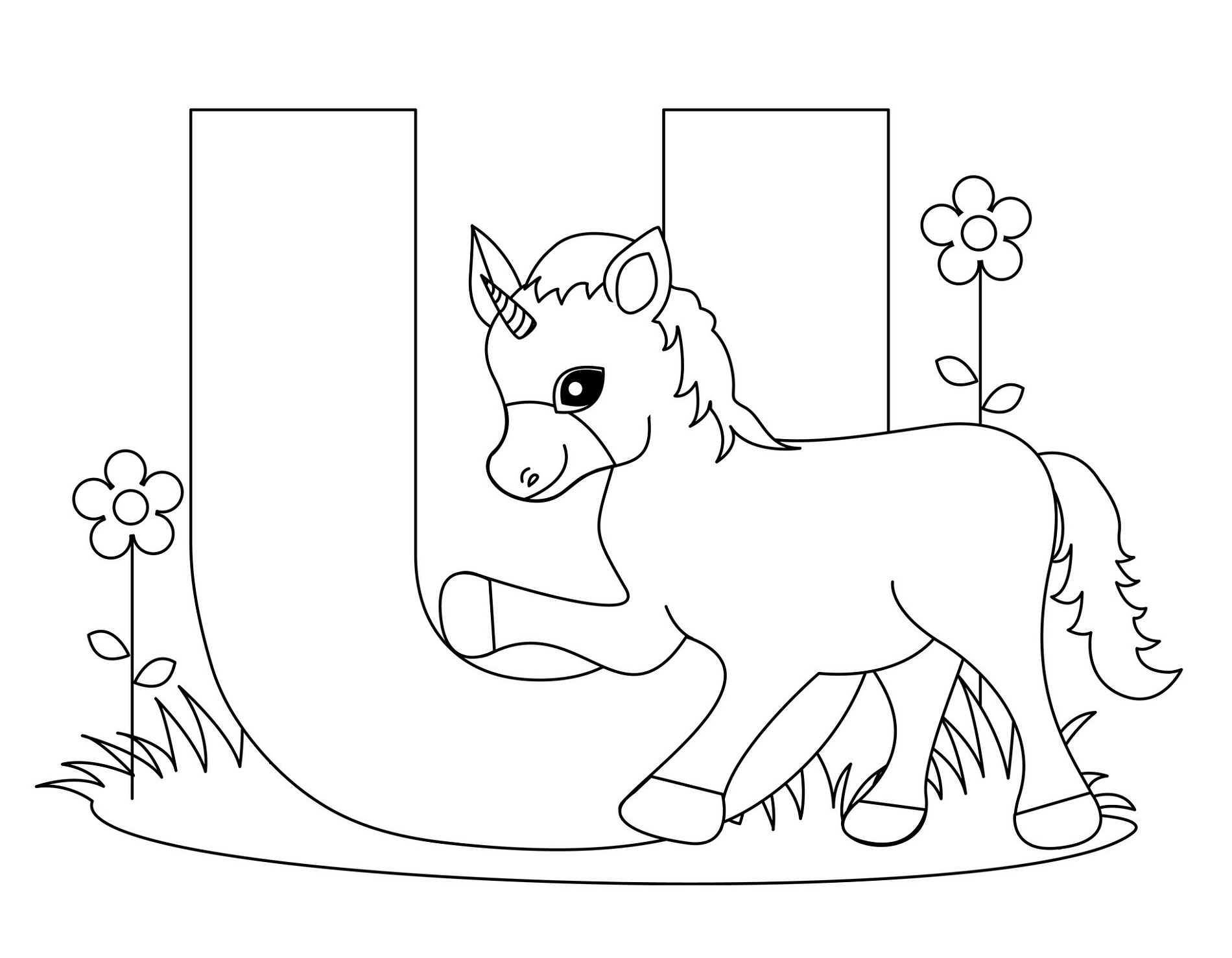 letter a coloring pages horse