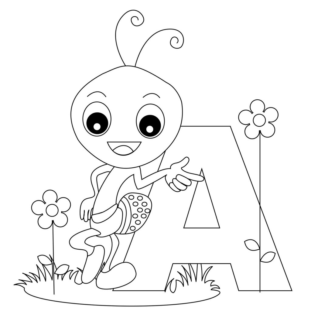 letter a coloring pages insect