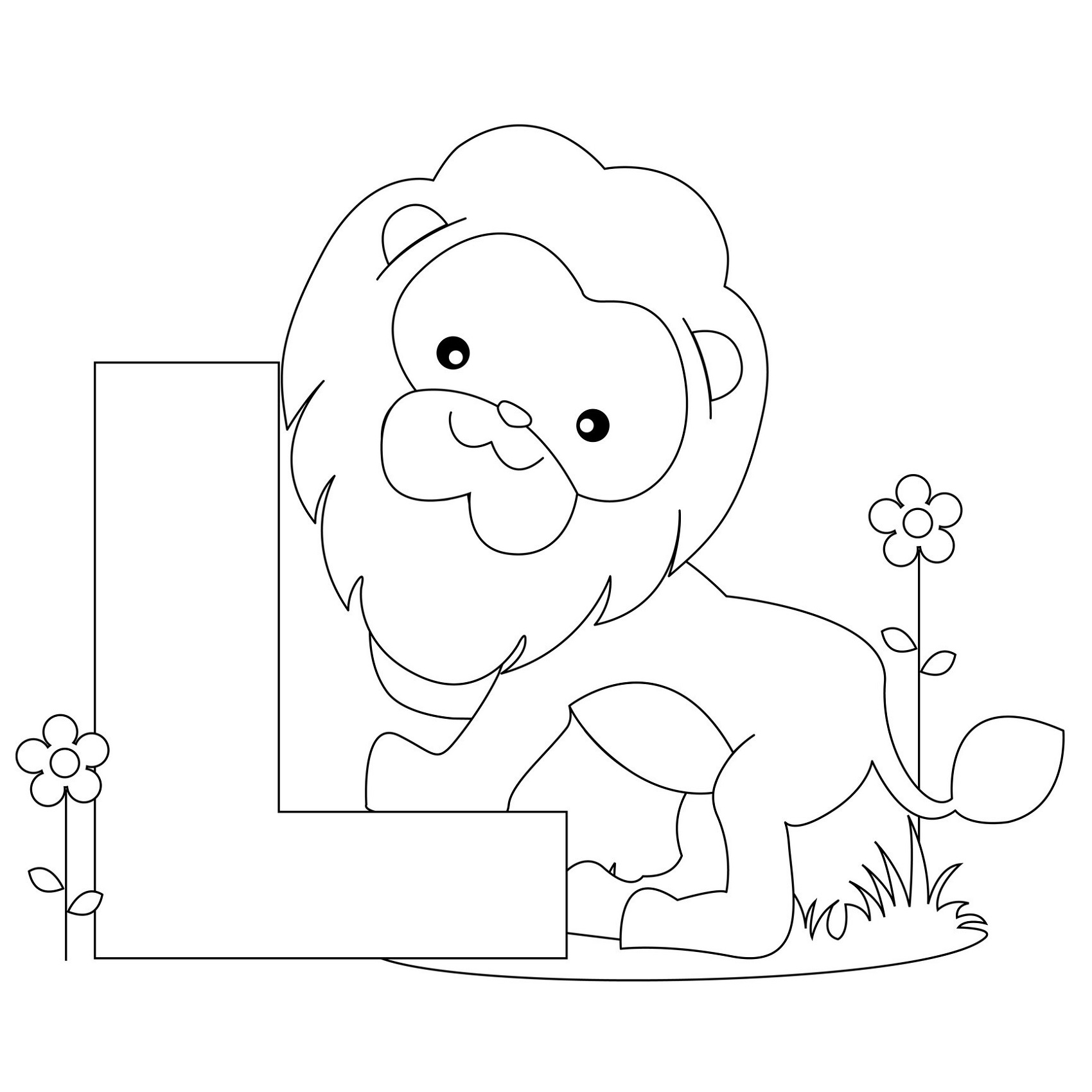 letter a coloring pages lion