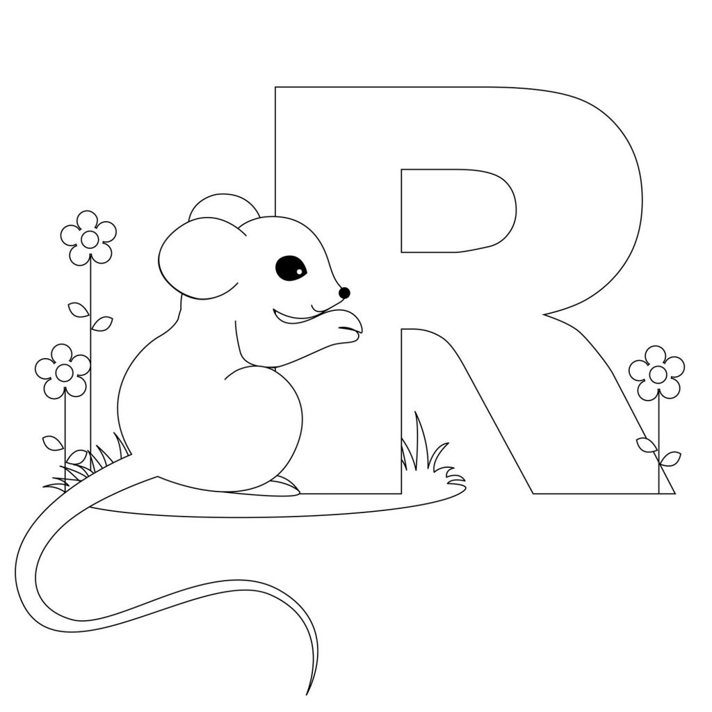 letter a coloring pages mouse