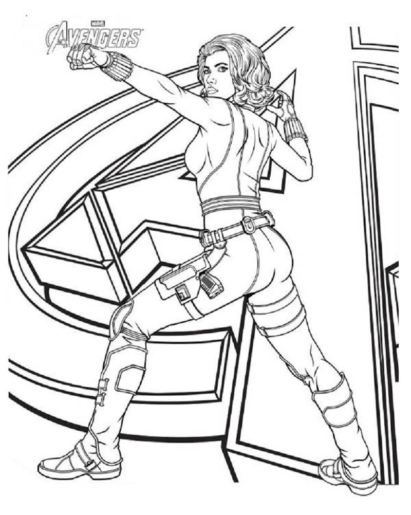 black widow coloring pages 4
