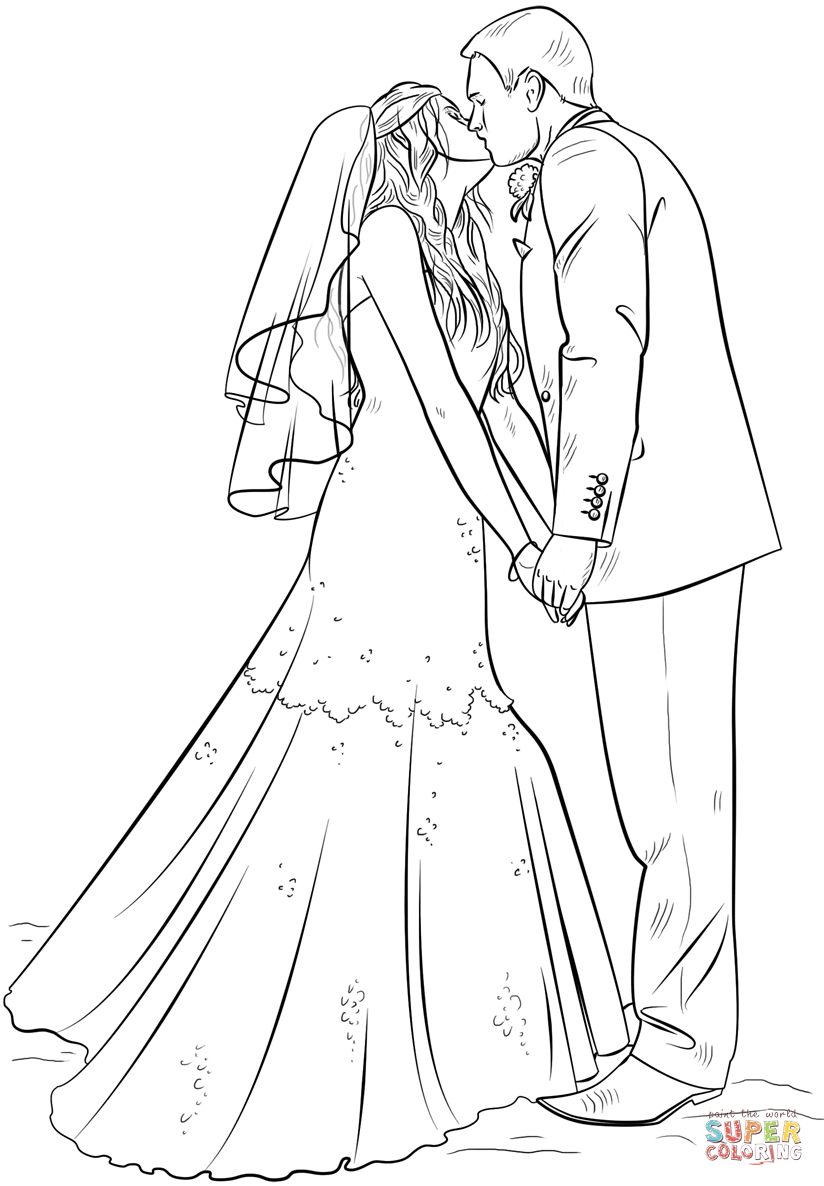 bride and groom coloring pages 2