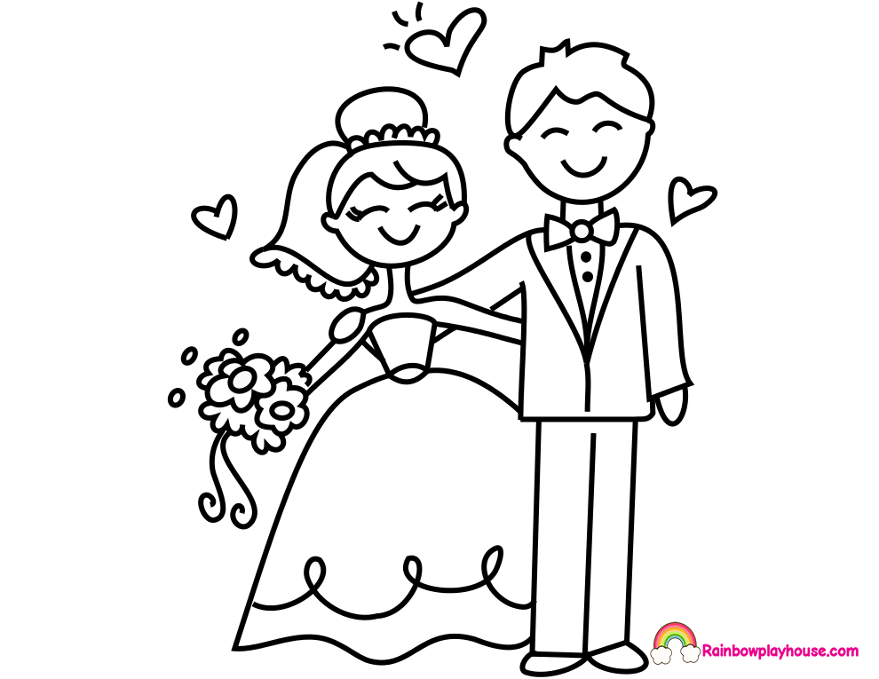 bride and groom coloring pages 4