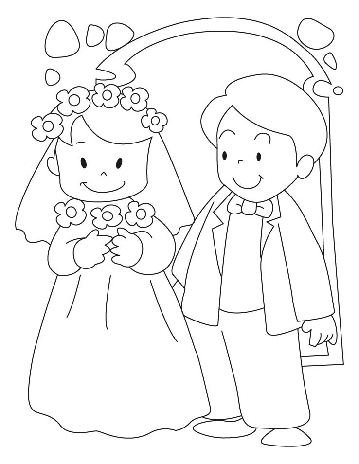 bride and groom coloring pages 5