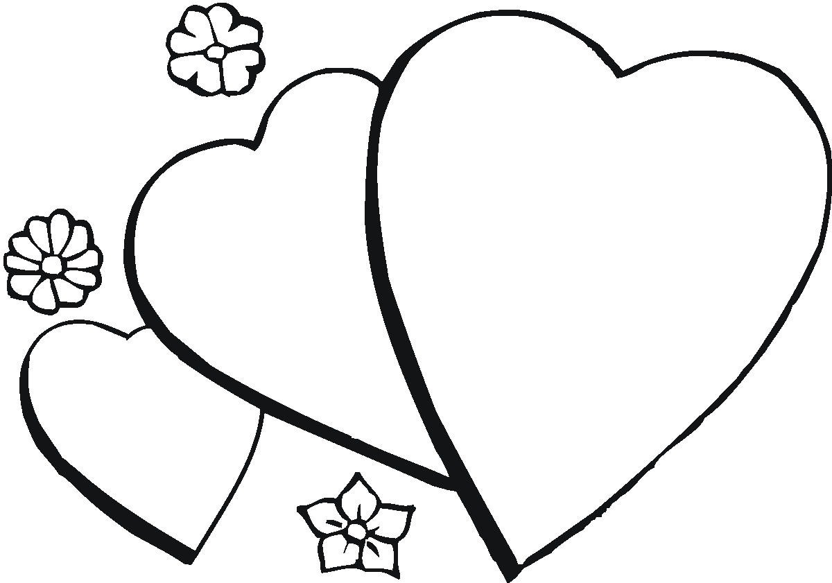 coloring pages of hearts and flowers 1
