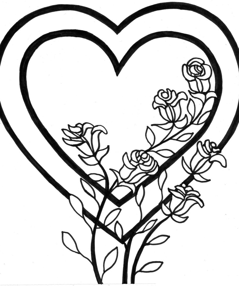 coloring pages of hearts and flowers 2