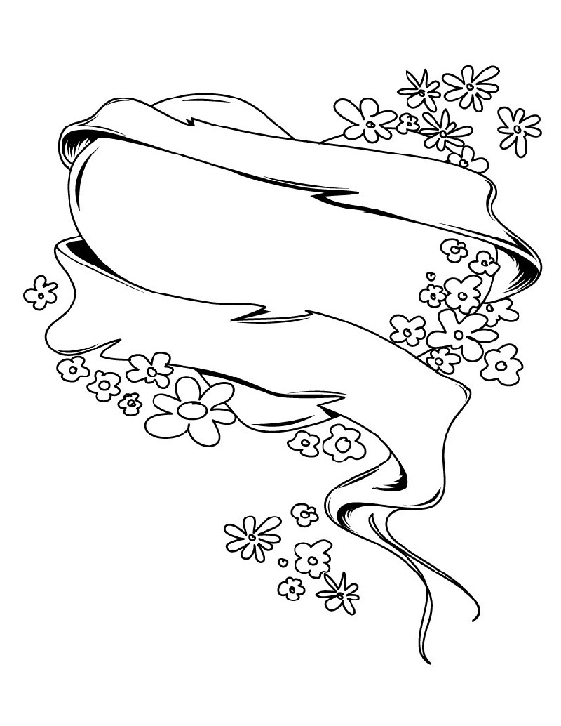 coloring pages of hearts and flowers 4
