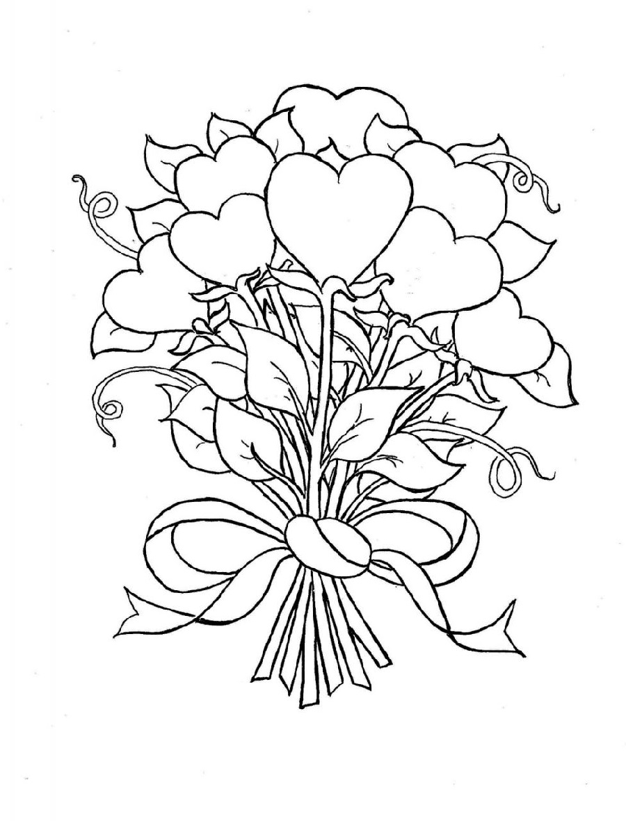 coloring pages of hearts and flowers 5