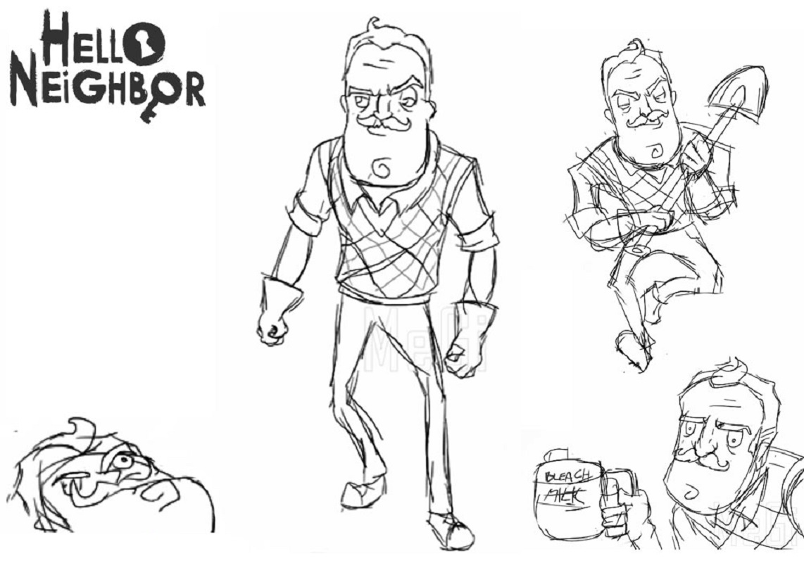 hello neighbor coloring pages 5
