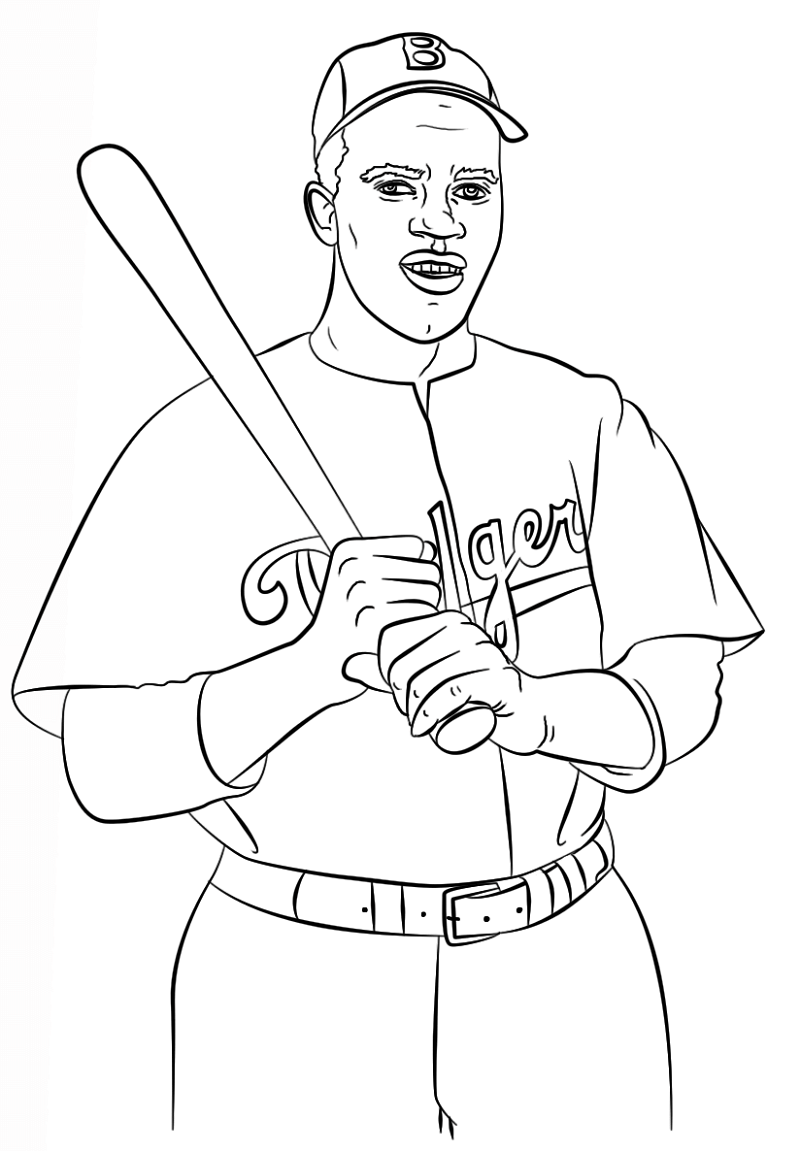 jackie robinson coloring page 2