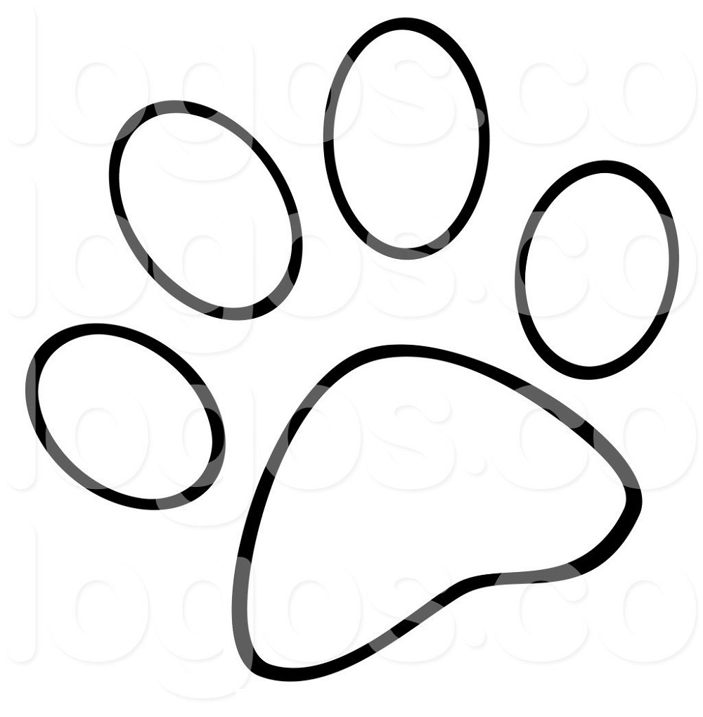 paw print coloring page 3