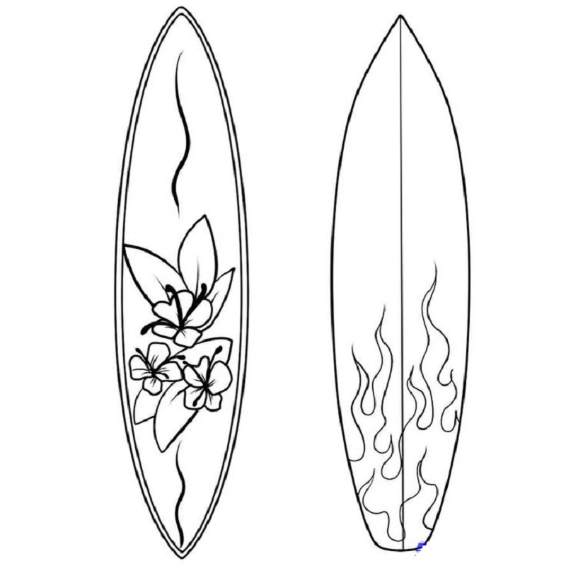surfboard coloring page 2