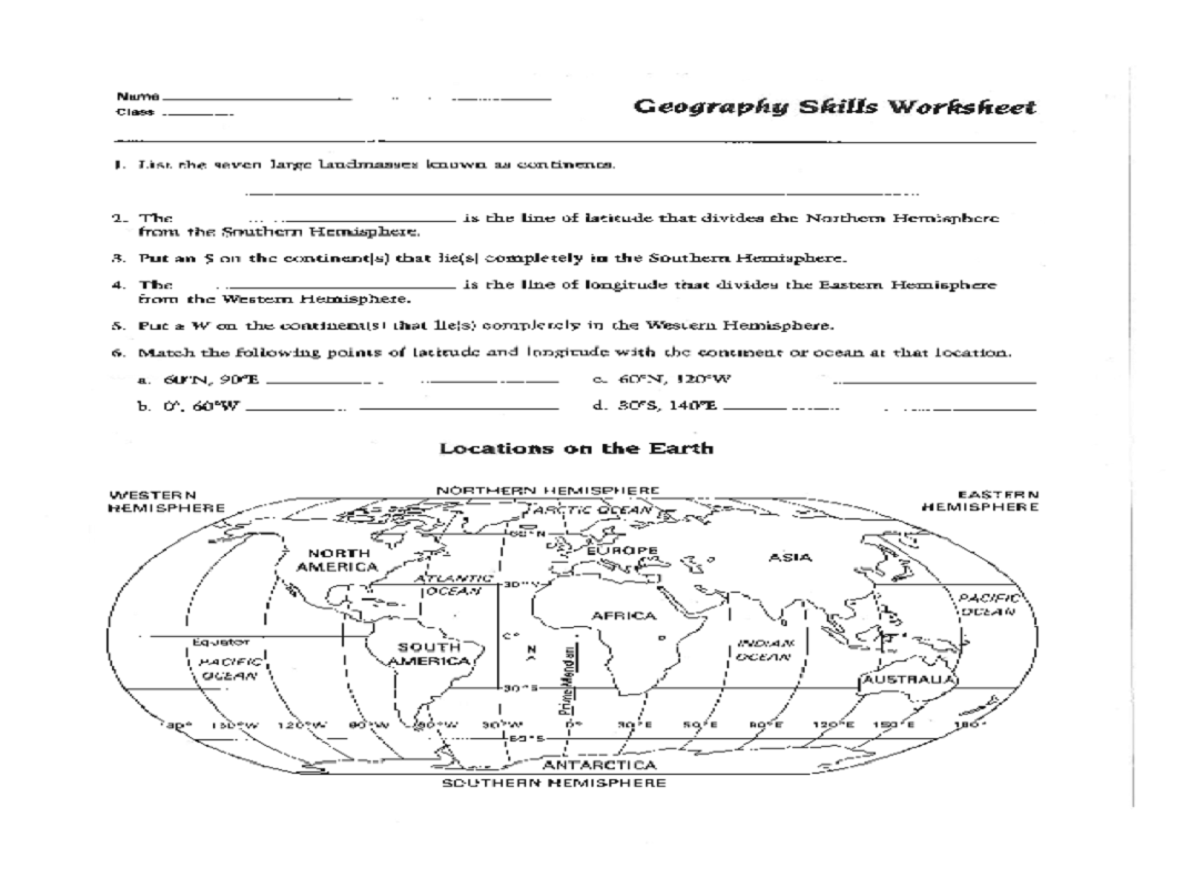 Geography worksheets one