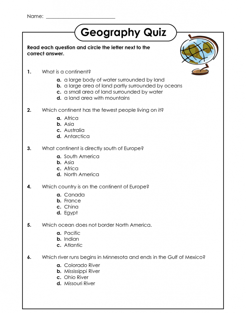 Geography worksheets two