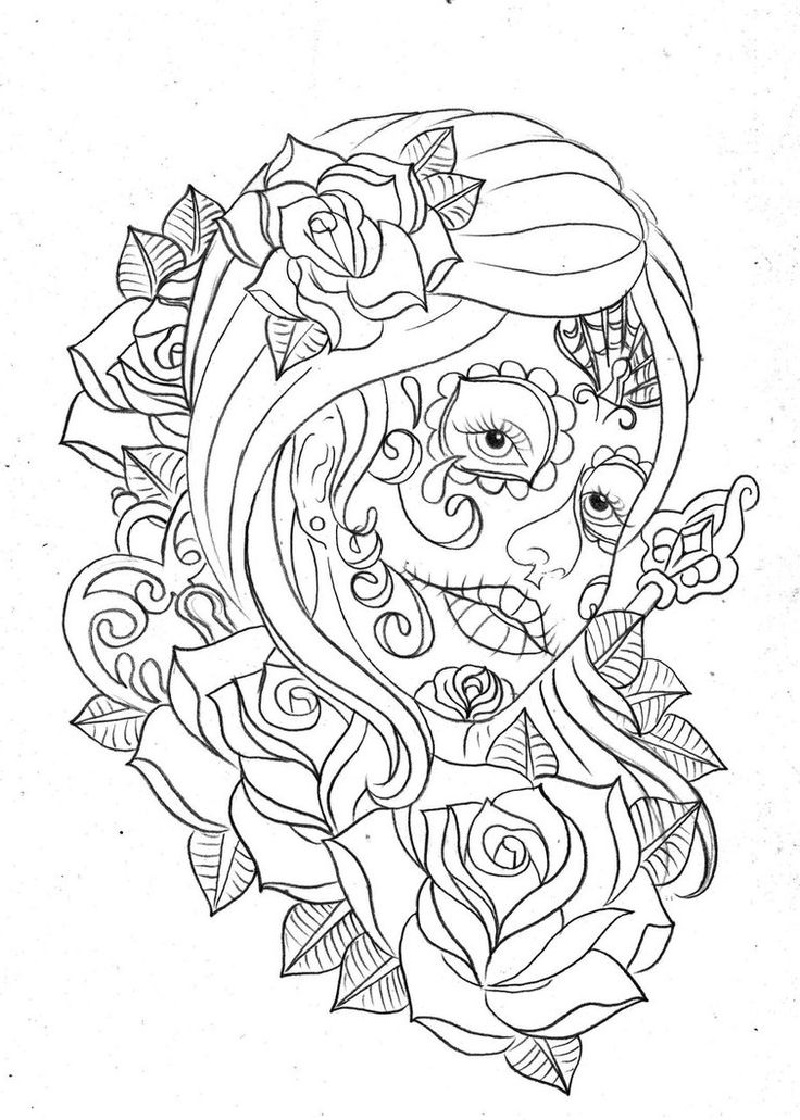 day of the dead coloring pages 2