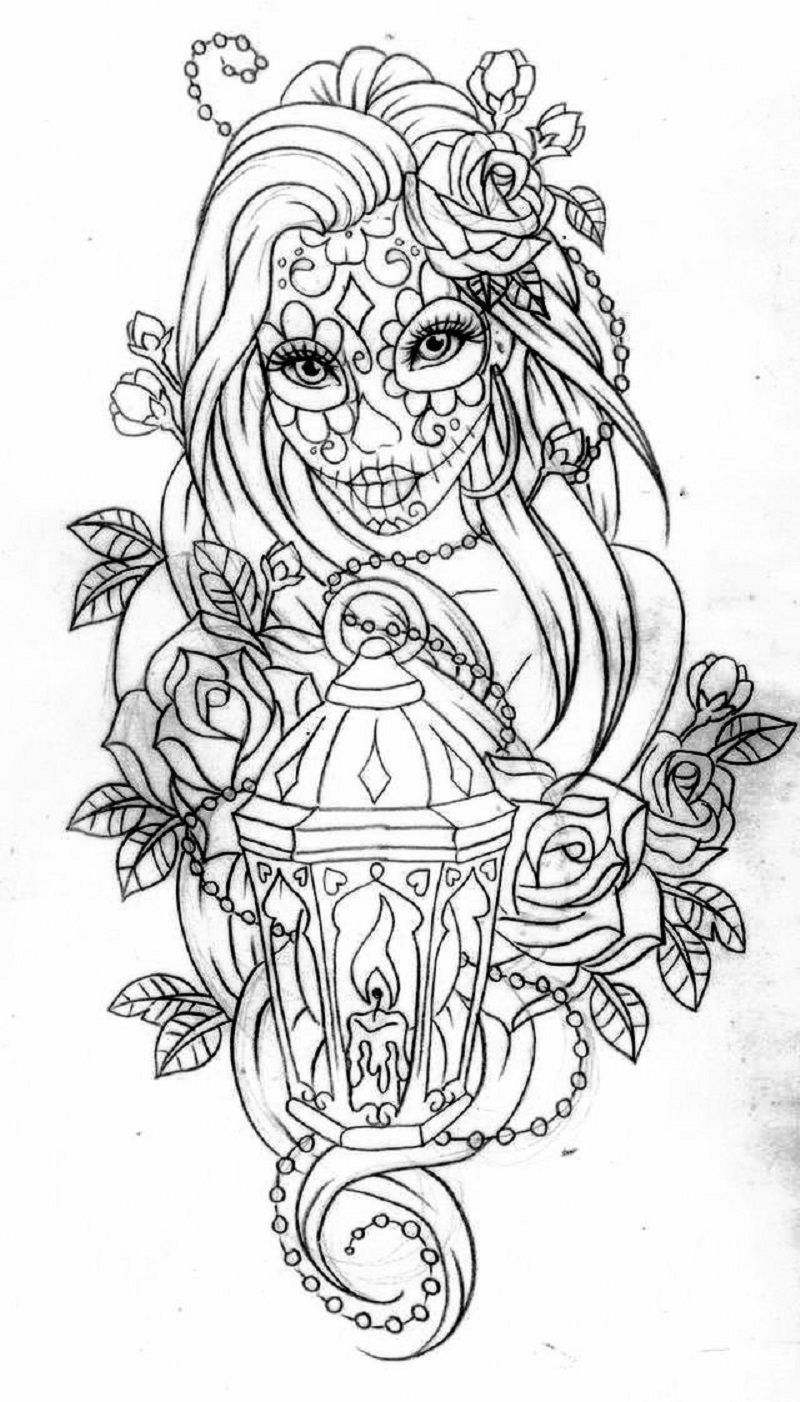 day of the dead coloring pages 4