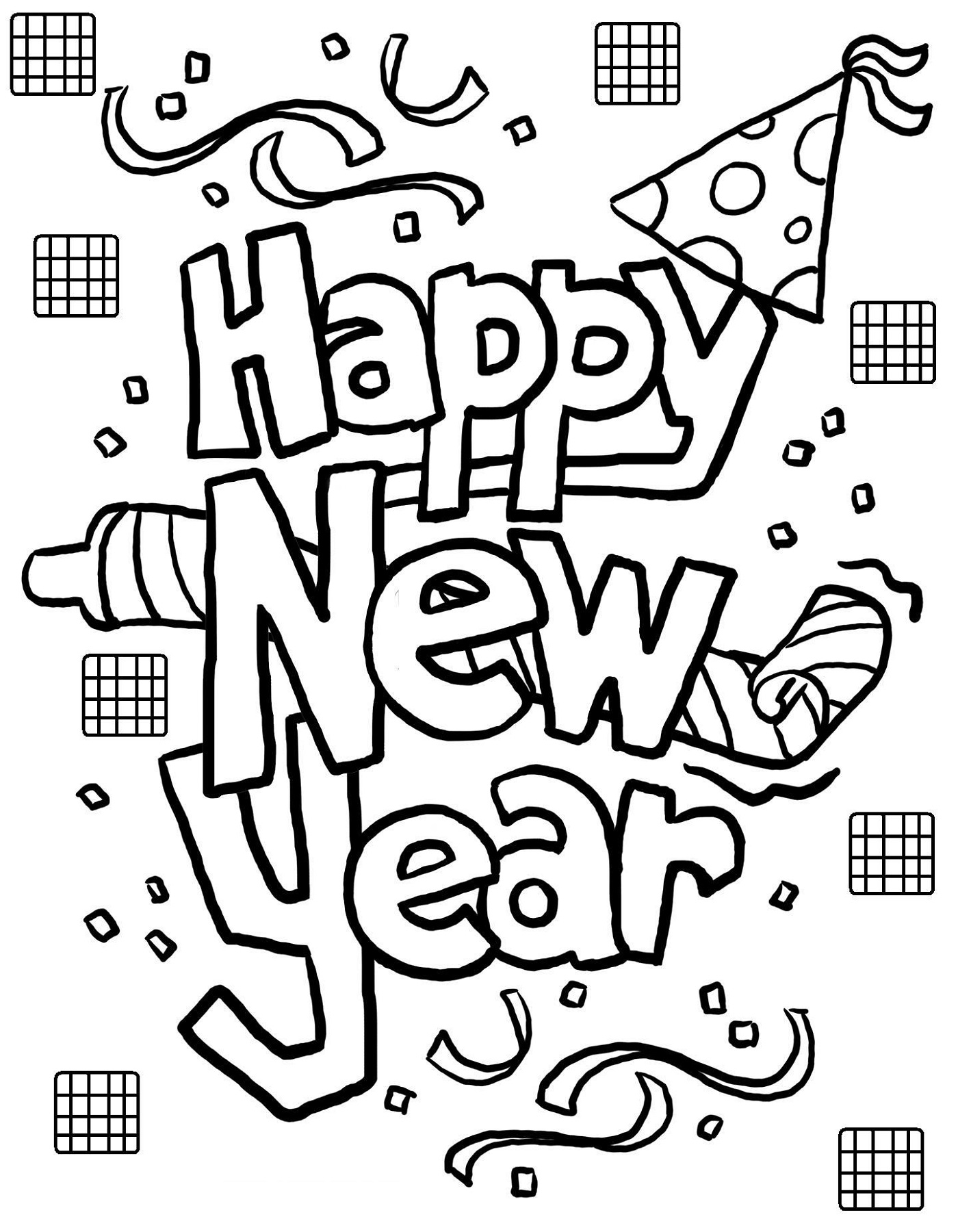 new years coloring pages 1
