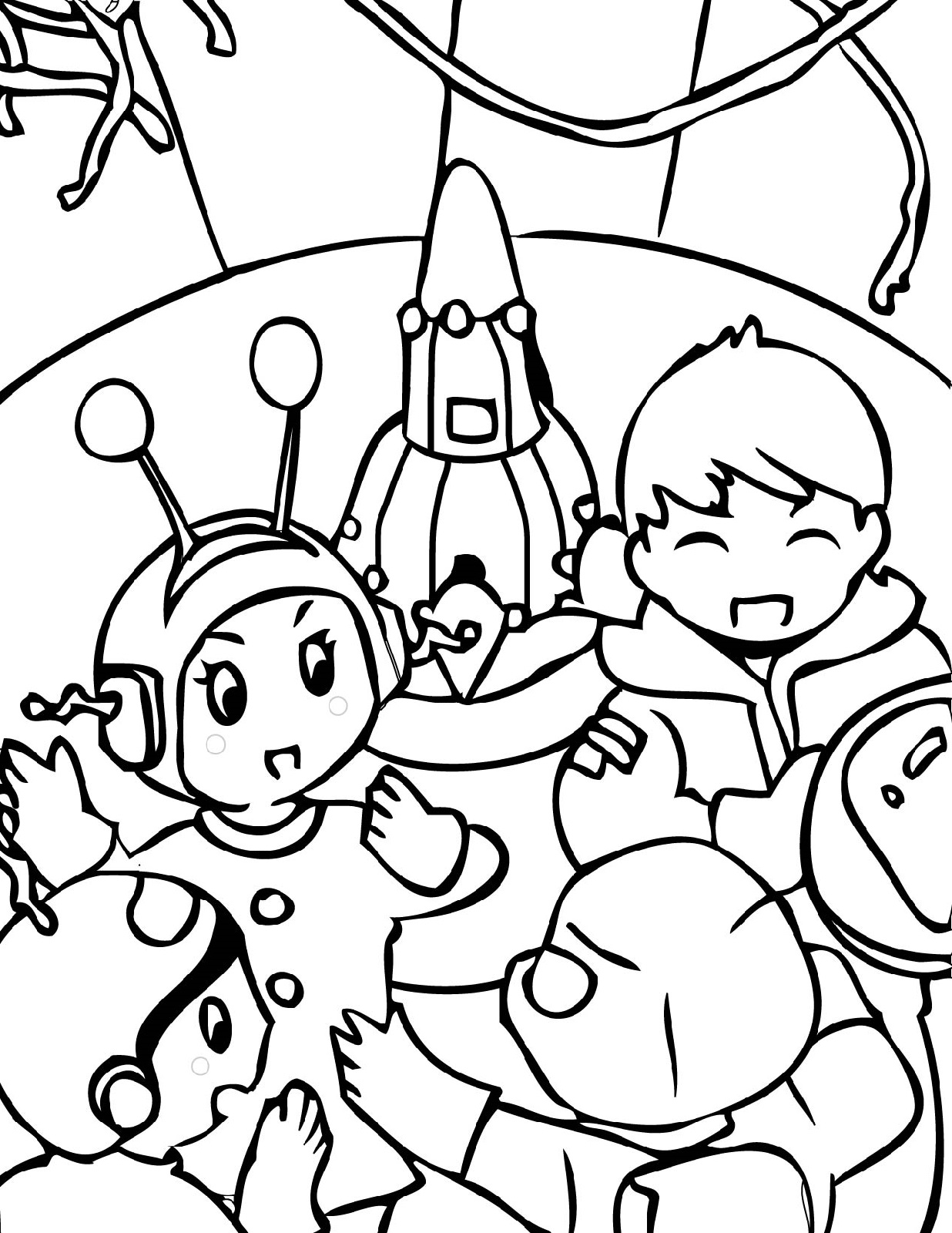 space coloring pages alien