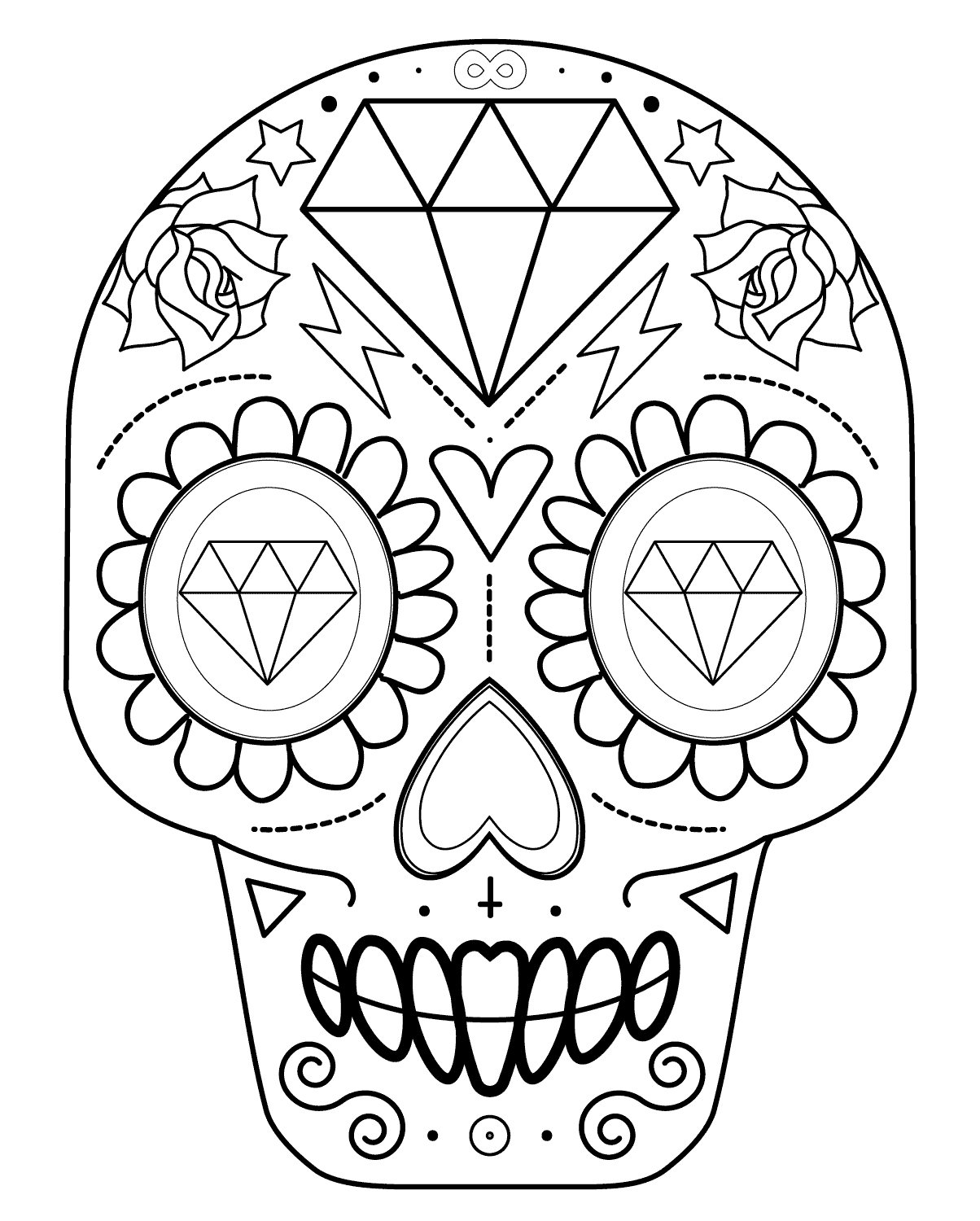 sugar skull coloring pages sugar skull 4