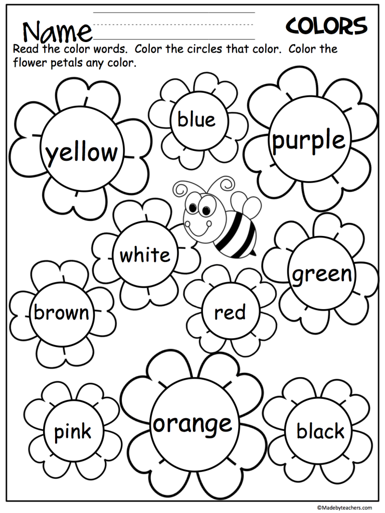 Free Printable Worksheets For 3 Year Olds Colors