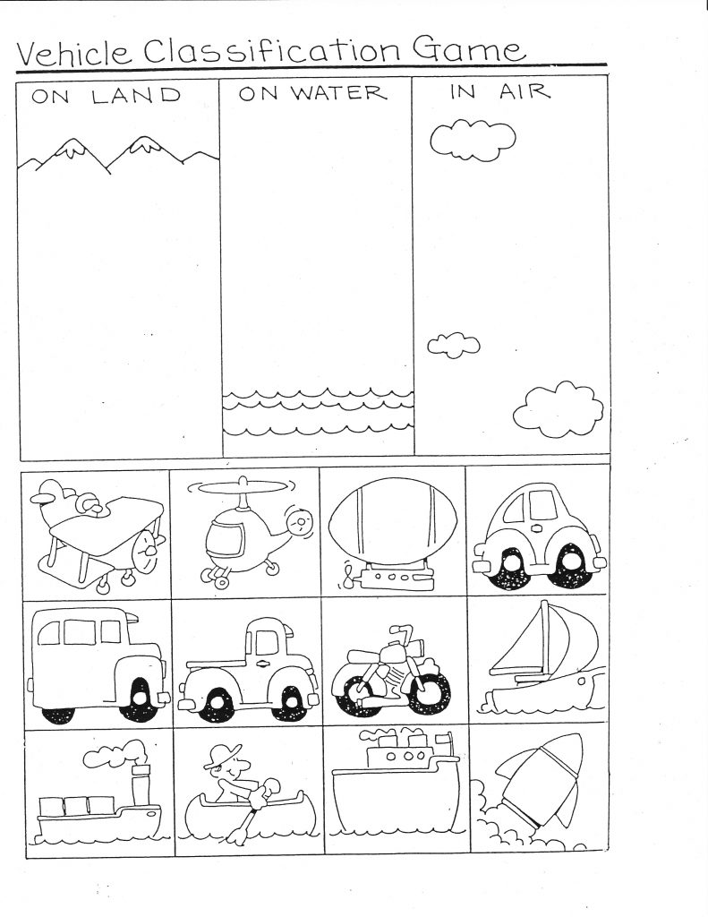 Free Printable Worksheets For 3 Year Olds Vehicle