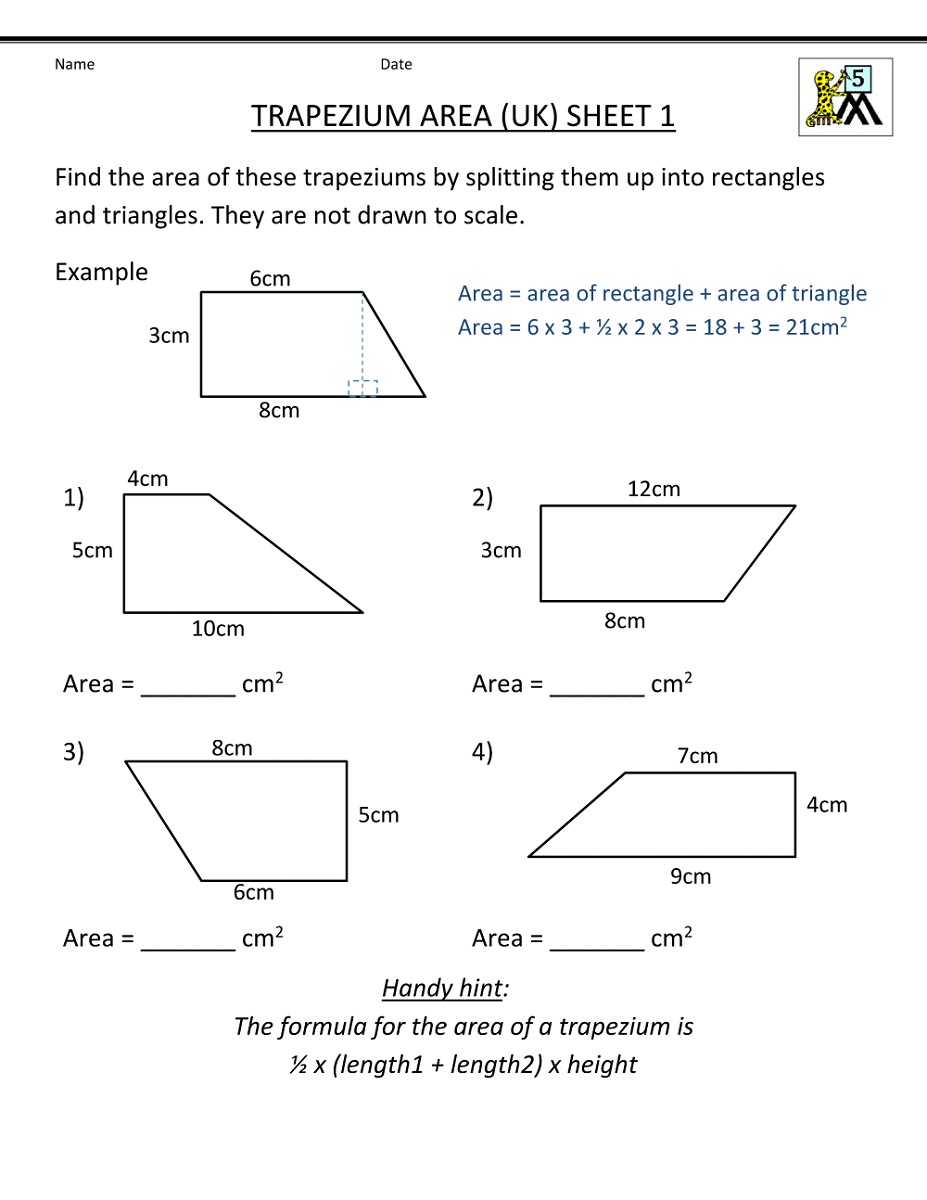 Math Practice Worksheets Area