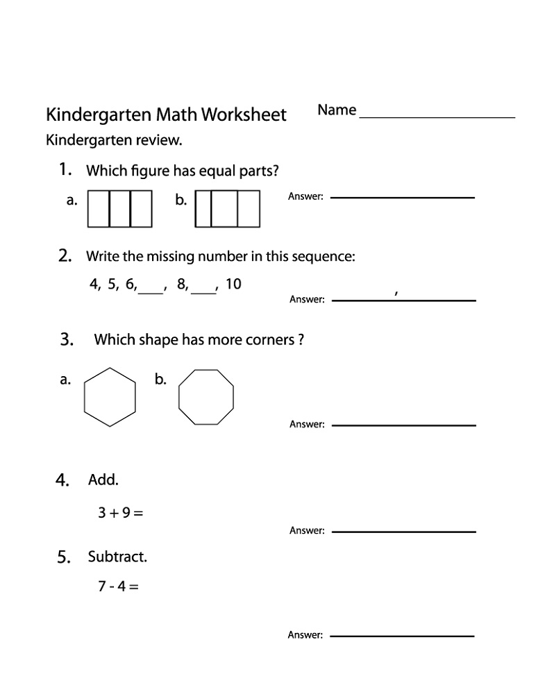 Math Practice Worksheets Kindergarten