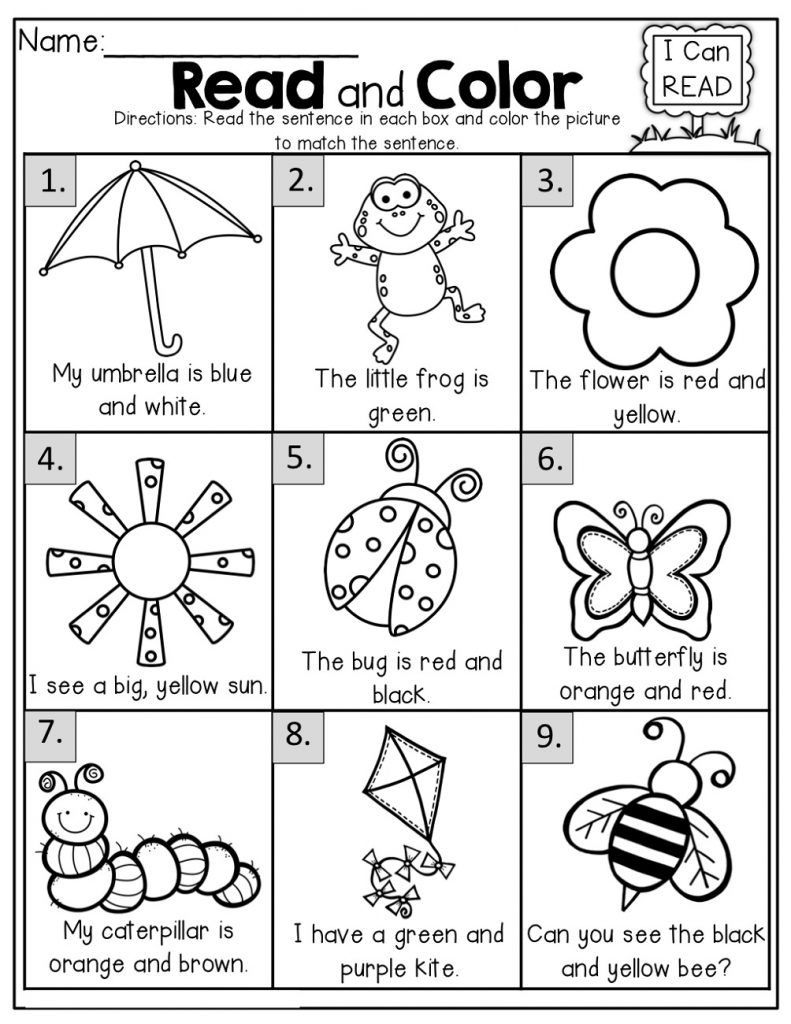 Free Printable Worksheets For 5 Year Olds Read And Color