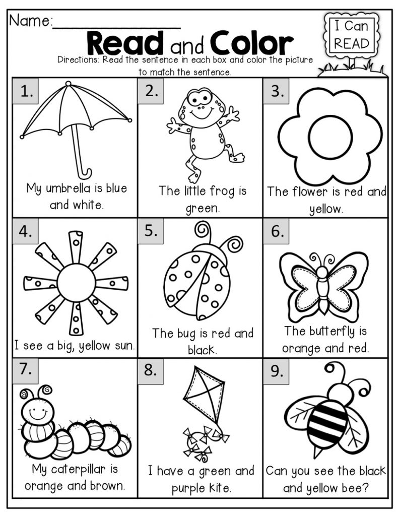 Ks1 Worksheets Read And Color