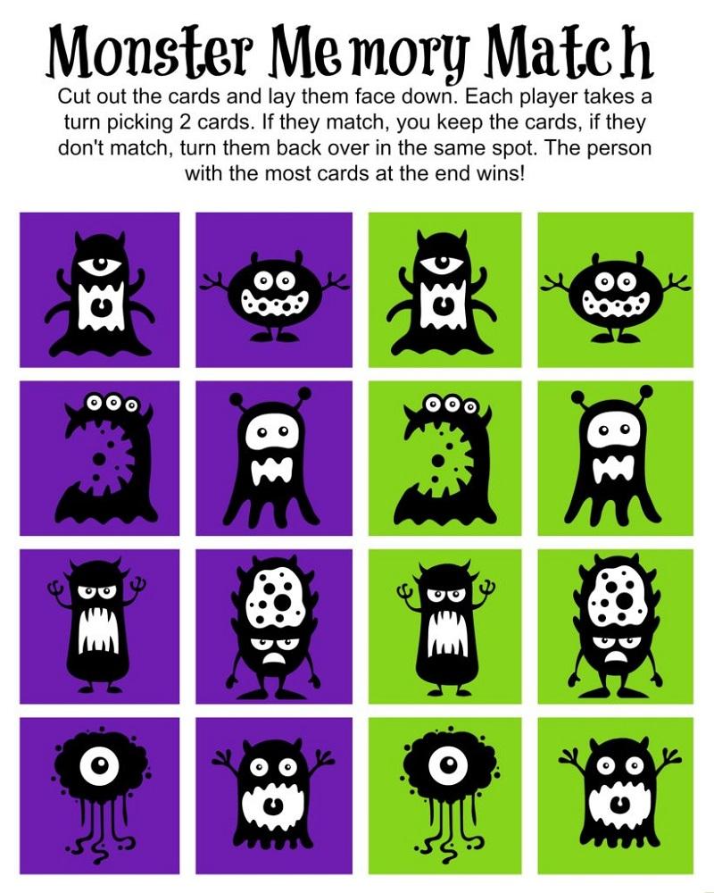 Free Printable Fun Worksheets Memory Games